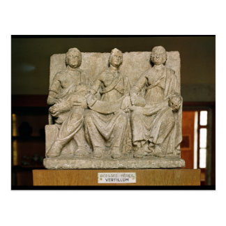 Votive sculpture of a triple mother deity postcard