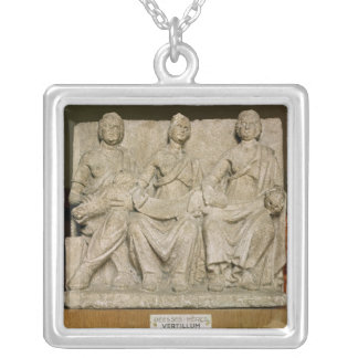 Votive sculpture of a triple mother deity silver plated necklace