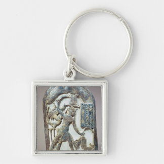 Votive shield depicting the king slaying a Silver-Colored square key ring