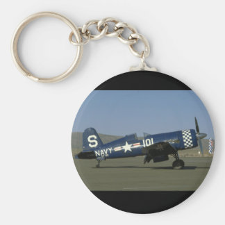 Vought F4U Corsair, Wings Flat,Right_WWII Planes Basic Round Button Key Ring