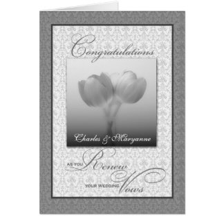 Vow Renewal Congratulations Silver Tulips Greeting Card