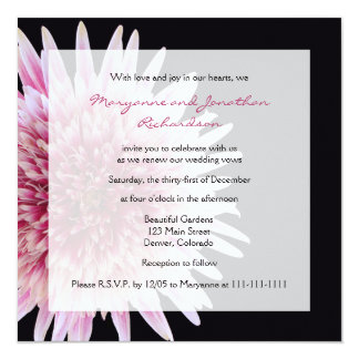 Vow Renewal Giant Pink and White Gerbera Daisy 13 Cm X 13 Cm Square Invitation Card