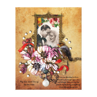 Vow Renewal Gift personalized Vintage Gothic Stretched Canvas Print