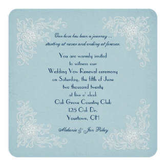 Vow Renewal-lace corners on soft aqua texture Card