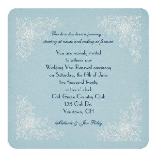 Vow Renewal-lace corners on soft aqua texture Card