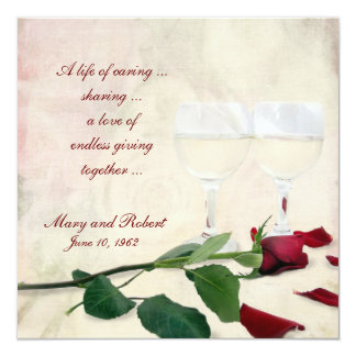 Vow Renewal on Wedding Anniversary 13 Cm X 13 Cm Square Invitation Card