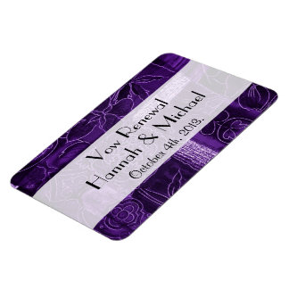 Vow Renewal - Patchwork, Flowers, Swirls - Purple Magnet