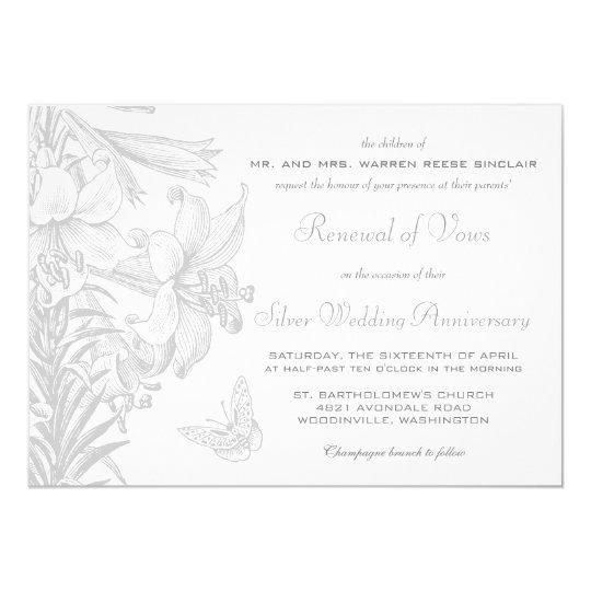 Vow Renewal Silver 25th Wedding Anniversary Invitation
