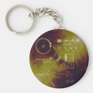 Voyager 1 and 2 Golden Record Sounds of Earth Basic Round Button Key Ring