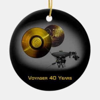 Voyager Spacecraft and Golden Record at 40 Round Ceramic Decoration
