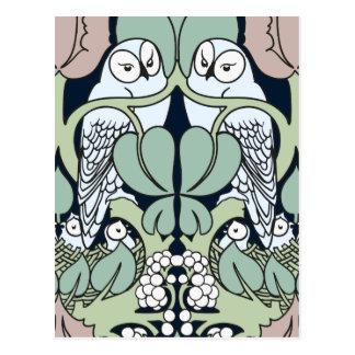 Voysey Art Nouveau Owl Nest Pattern Postcard