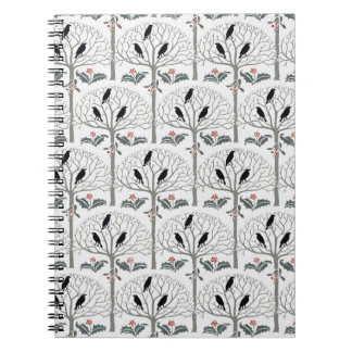 Voysey Rook and Holly Pattern Christmas Journal Notebooks