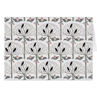Voysey Rook and Holly Pattern Christmas Note Cards