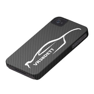 """VR38DETT"" Skyline White Silhouette Logo iPhone 4 Case-Mate Cases"