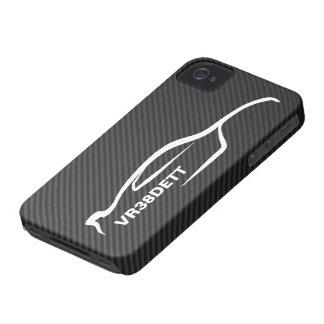 """""""VR38DETT"""" Skyline White Silhouette Logo iPhone 4 Cover"""