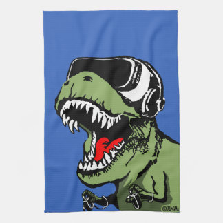 VR T-rex Tea Towel