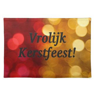 Vrolijk Kerstfeest! Merry Christmas in Dutch bf Cloth Place Mat