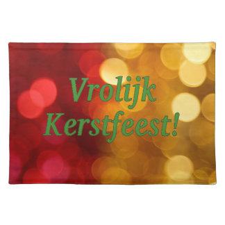 Vrolijk Kerstfeest! Merry Christmas in Dutch gf Cloth Place Mat