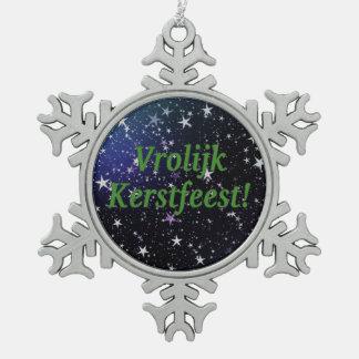 Vrolijk Kerstfeest! Merry Christmas in Dutch gf Snowflake Pewter Christmas Ornament