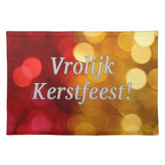Vrolijk Kerstfeest! Merry Christmas in Dutch wf Cloth Placemat