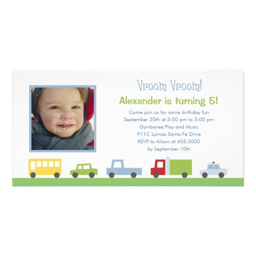 Vroom Vroom Cars Photo Birthday Party Invitation Picture Card