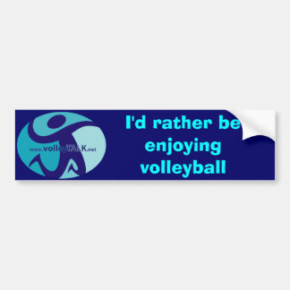 VT_Symbol, I'd rather be enjoying volleyball Bumper Sticker
