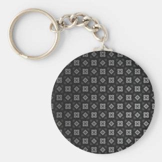 Vuitton Inspired Black Pattern Basic Round Button Key Ring