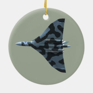 Vulcan bomber in flight christmas ornament