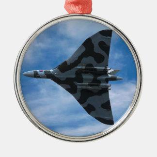 Vulcan bomber in flight christmas ornament