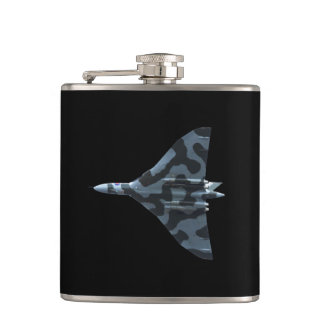 Vulcan bomber in flight hip flask