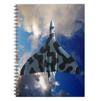 Vulcan bomber in flight notebook