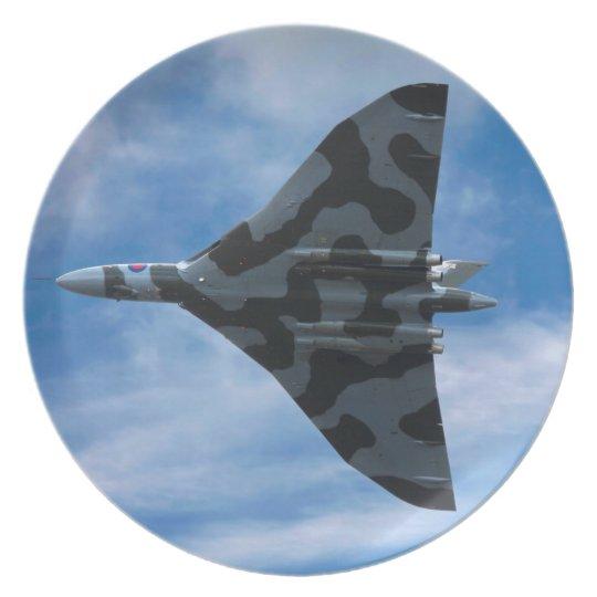 Vulcan bomber in flight plate