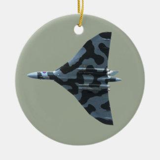 Vulcan bomber in flight round ceramic decoration
