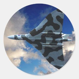 Vulcan bomber in flight round sticker