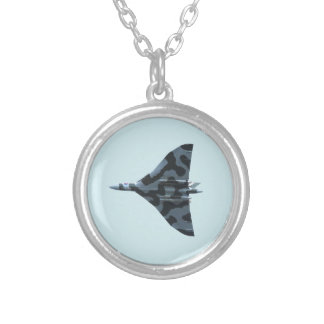 Vulcan bomber in flight silver plated necklace