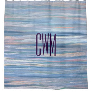 Vulnerable Bath | Monogram Blue Peach Silver | Shower Curtain