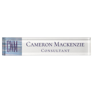Vulnerable Desk | Monogram Blue Peach Silver | Name Plate