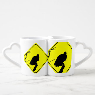 Vulture Crossing Bird Silhouette Crossing Sign Couples Mug
