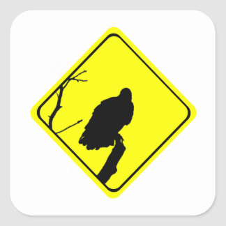 Vulture Crossing Bird Silhouette Crossing Sign Square Stickers
