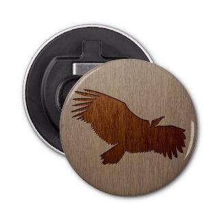 Vulture silhouette engraved on wood design bottle opener