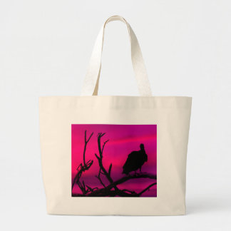 Vultures at Top of Tree Silhouette Illustration Jumbo Tote Bag