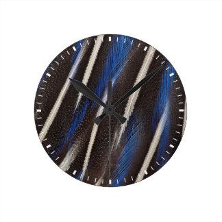 Vulturine Guineafowl feather Round Clock