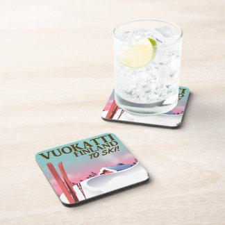 Vuokatti Finland ski poster Beverage Coasters