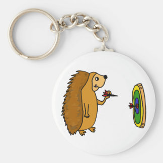 VV- Funny Hedgehog Throwing Darts Cartoon Basic Round Button Key Ring