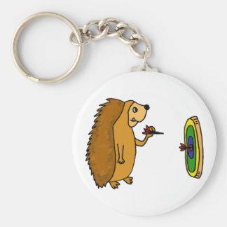 VV- Funny Hedgehog Throwing Darts Cartoon Basic Round Button Key Ring