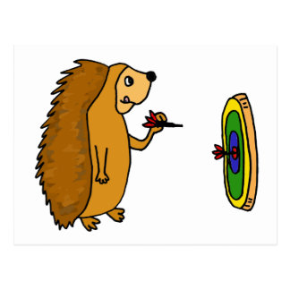 VV- Funny Hedgehog Throwing Darts Cartoon Postcard
