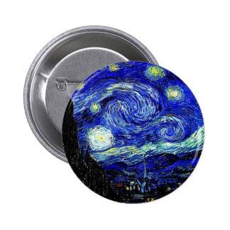 vVan Gogh Starry Night Fine Art Pinback Buttons