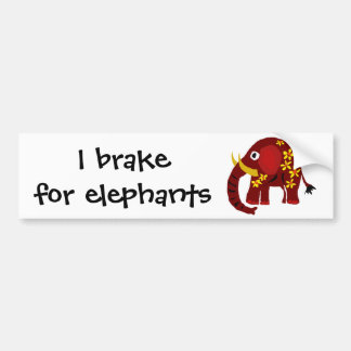 VW- Elephant and Daisies Primitive Art Bumper Sticker
