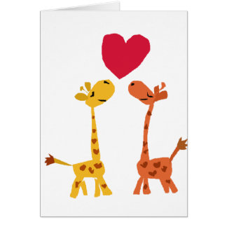 VW- Funny Giraffe Love Cartoon Greeting Card
