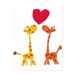 VW- Funny Giraffe Love Cartoon Postcards